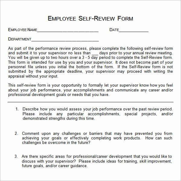 Employee Self Evaluation Template Awesome 16 Sample Employee Self Evaluation form Pdf Word Pages