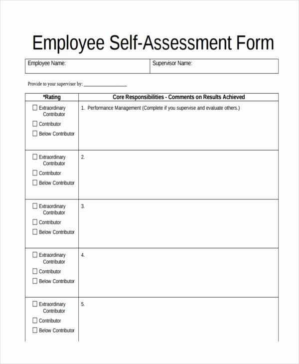Employee Self Evaluation Template Fresh 47 assessment form Examples