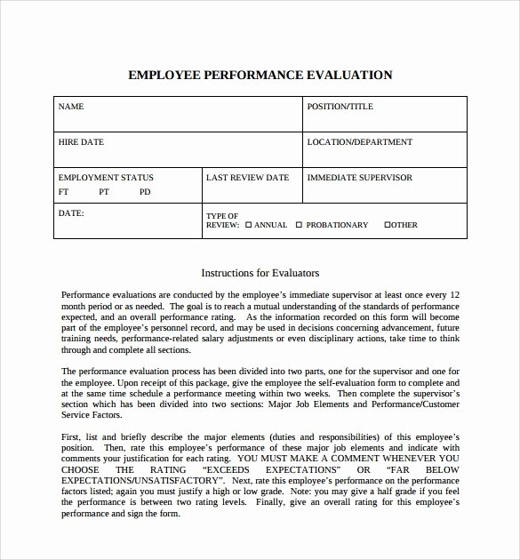 Employee Self Evaluation Template Lovely 8 Employee Self Evaluation forms