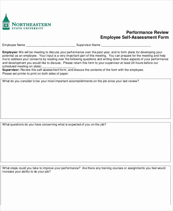 Employee Self Evaluation Template Luxury 7 Employee Self assessment Samples