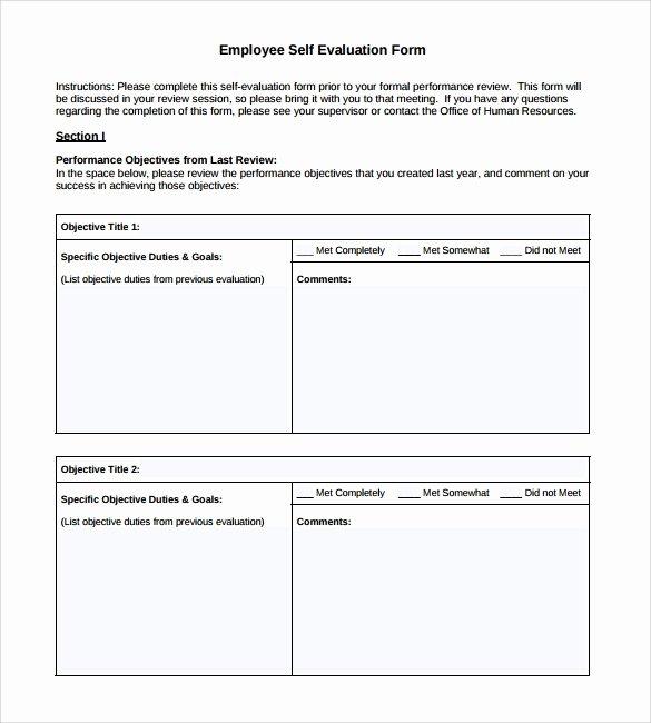 Employee Self Evaluation Template Luxury 8 Employee Self Evaluation forms