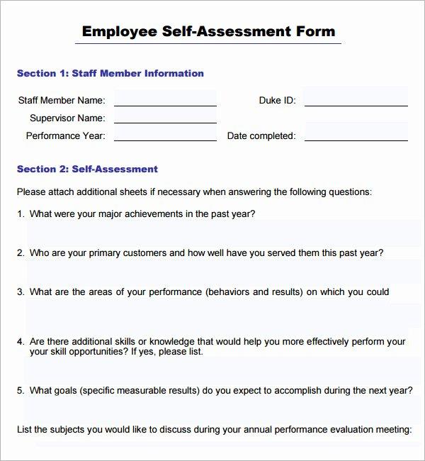 Employee Self Evaluation Template Unique 16 Sample Employee Self Evaluation form Pdf Word Pages