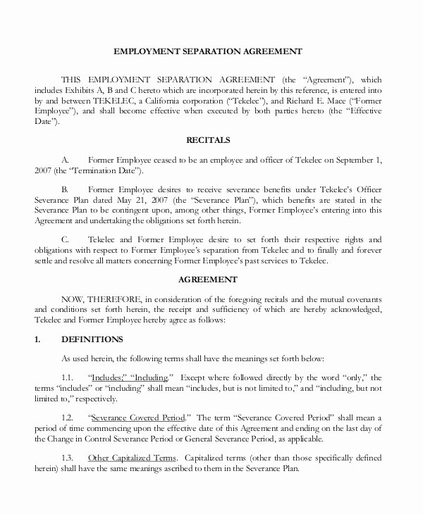 Employee Separation Agreement Template Best Of 5 Employment Separation form Templates Pdf Word