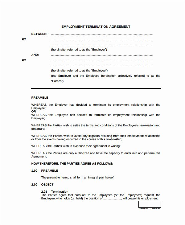 Employee Separation Agreement Template Elegant Employment Separation Agreement Templa