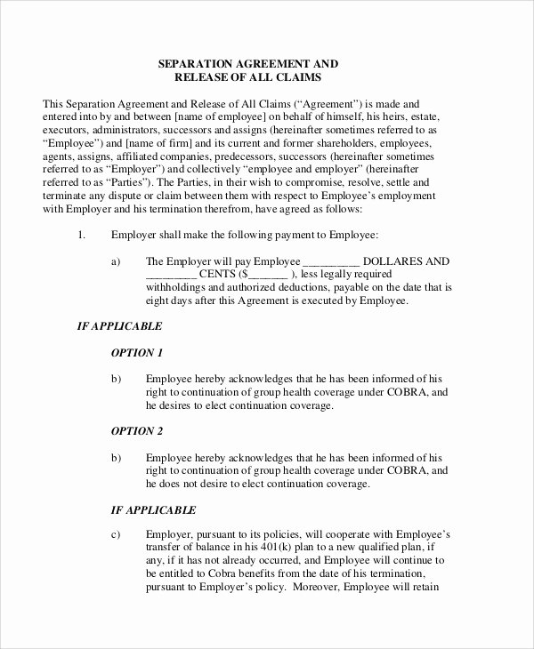 Employee Separation Agreement Template Elegant Sample Employment Separation Agreement 8 Documents In