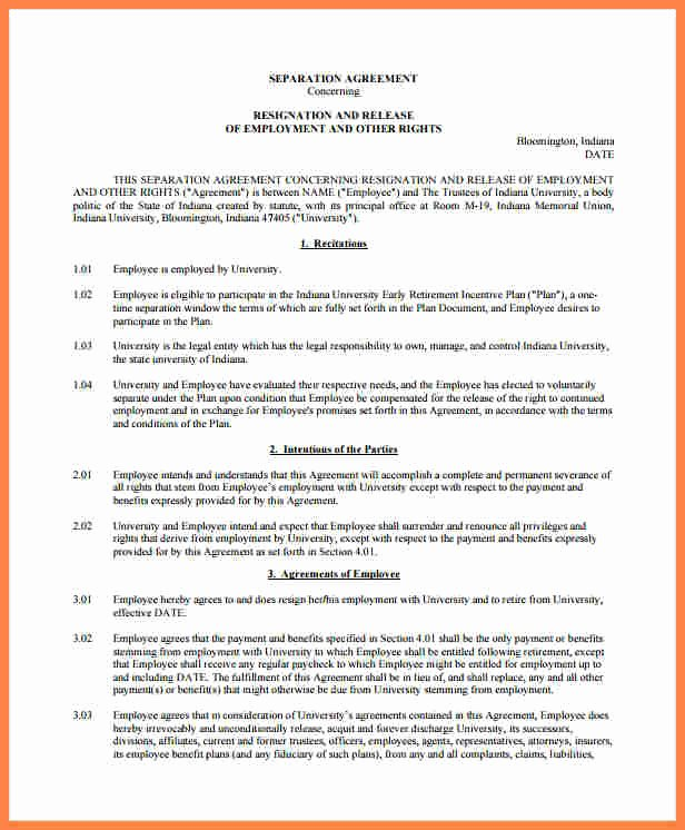 Employee Separation Agreement Template Inspirational 5 Employment Separation Agreement Template