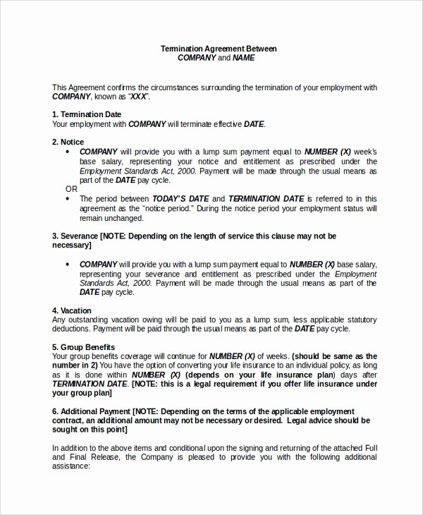 Employee Separation Agreement Template Lovely Sample Employment Separation Agreement 8 Documents In