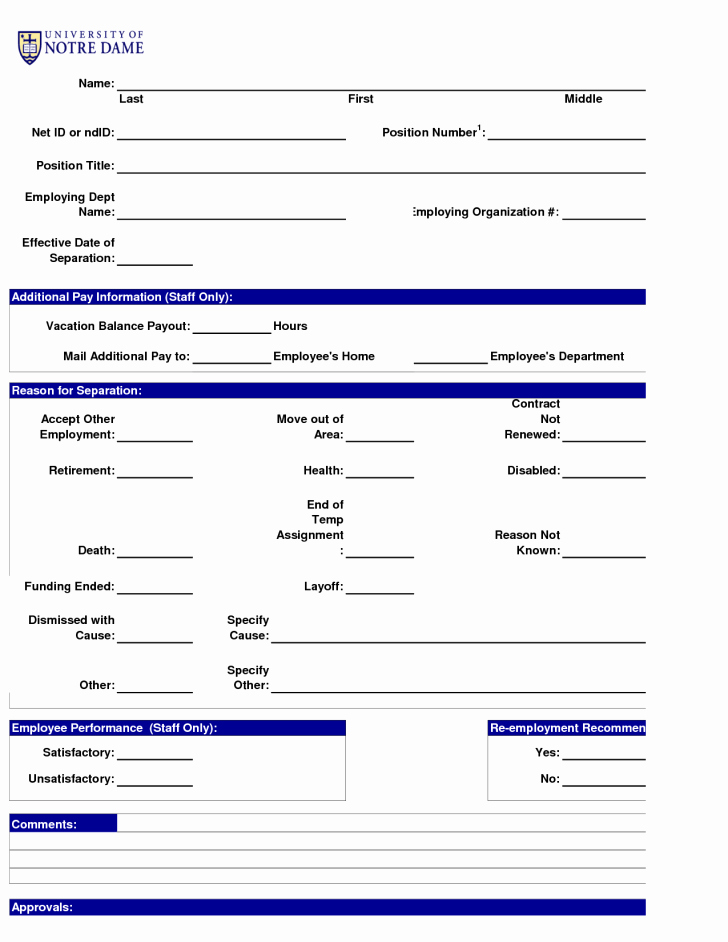 Employee Separation form Template Best Of form Employment Separation form