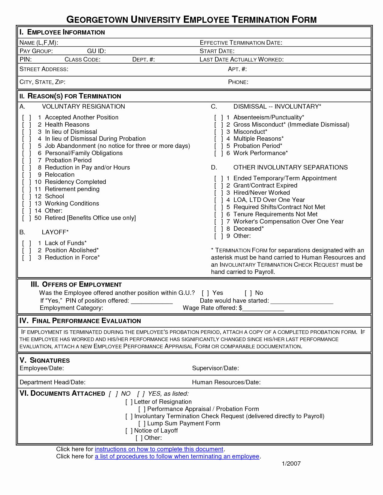 Employee Separation form Template Elegant Employee Employee Termination form Picture Employee