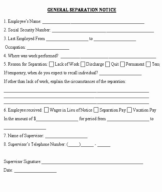 Employee Separation form Template Fresh Georgia Separation Notice Template 10 What Does A Divorce