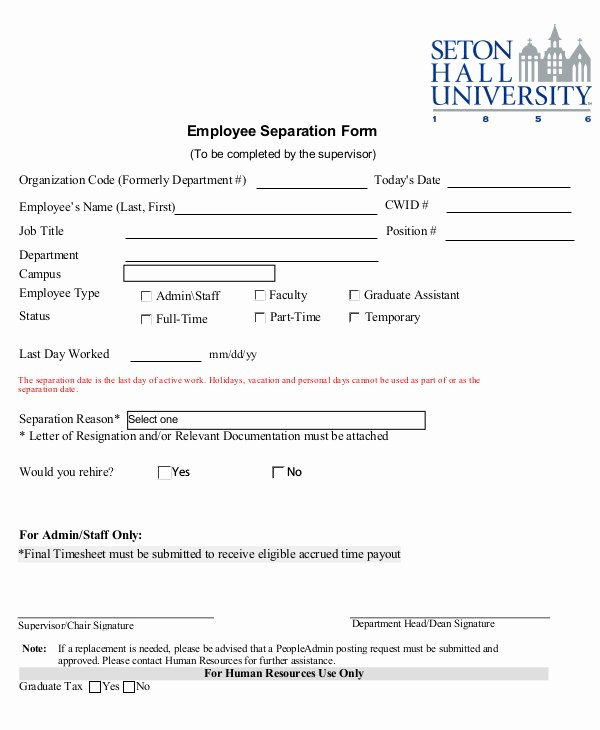 Employee Separation form Template Luxury 5 Employment Separation form Templates Pdf Word