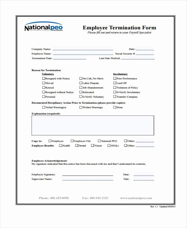 Employee Termination form Template Beautiful Employment form Templates