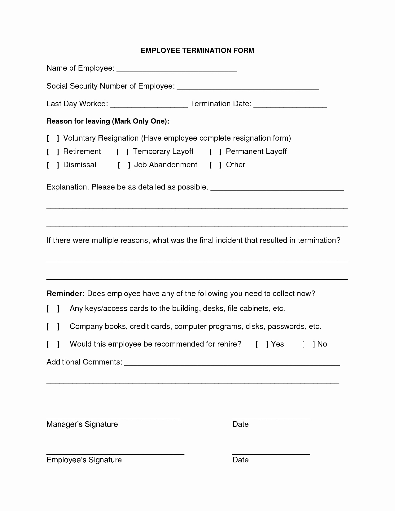 Employee Termination form Template Fresh 9 Best Of Employee Termination Notice form Free