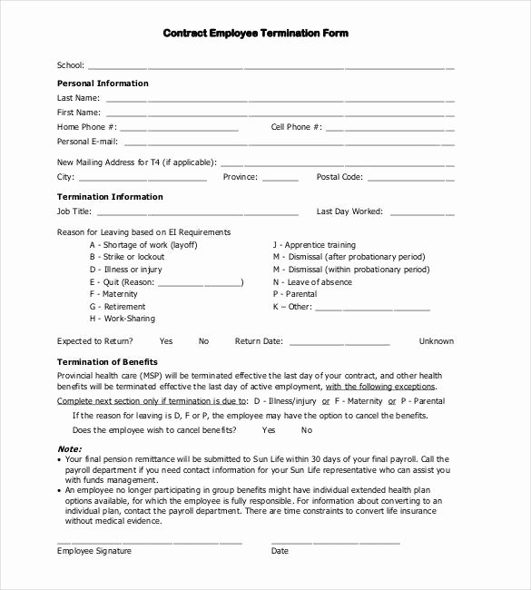Employee Termination form Template Inspirational 22 Contract Termination Letter Templates Pdf Doc