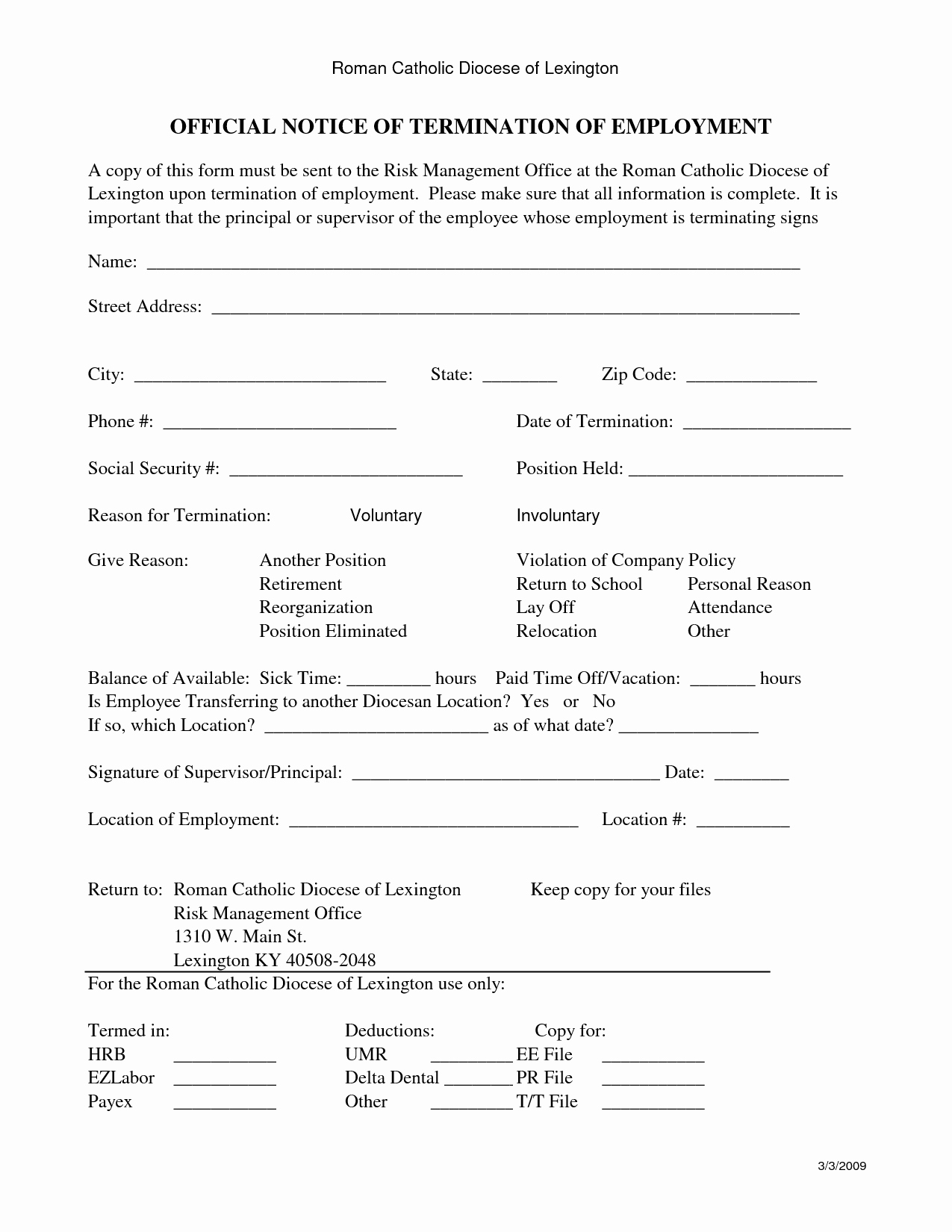 Employee Termination form Template Inspirational 9 Best Of Employee Termination Notice form Free