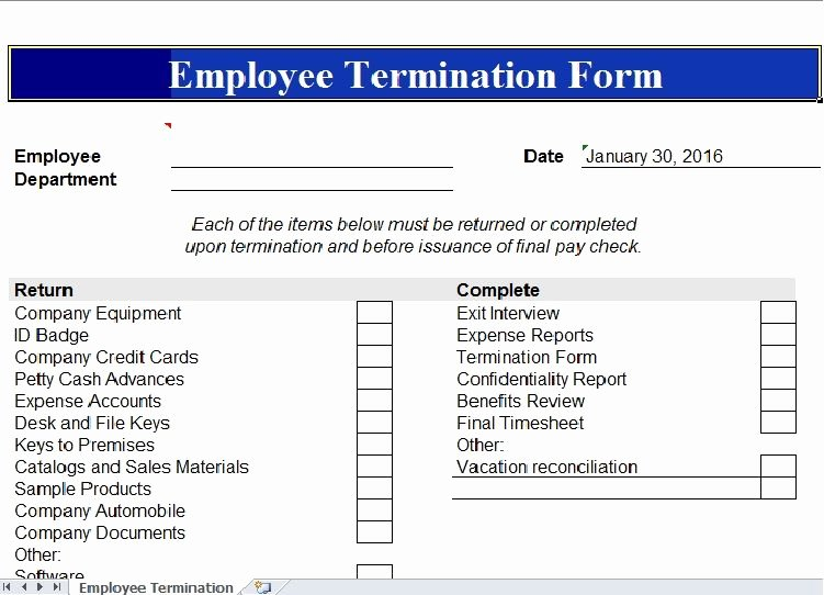 Employee Termination form Template Inspirational Employee Termination Template