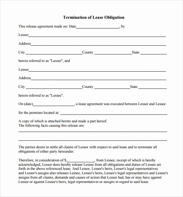 Employee Termination form Template Lovely 8 Lease Termination form Templates to Download