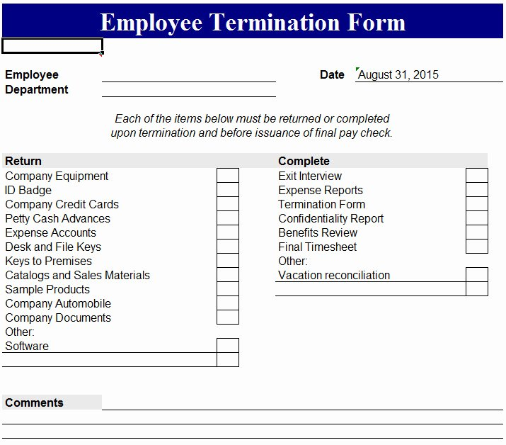 Employee Termination form Template New Employee Termination form My Excel Templates