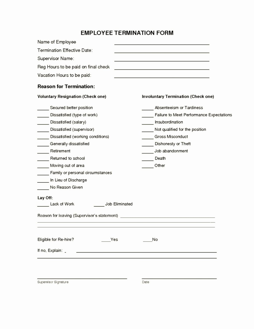 Employee Termination form Template New Employee Termination form Template Template Update234