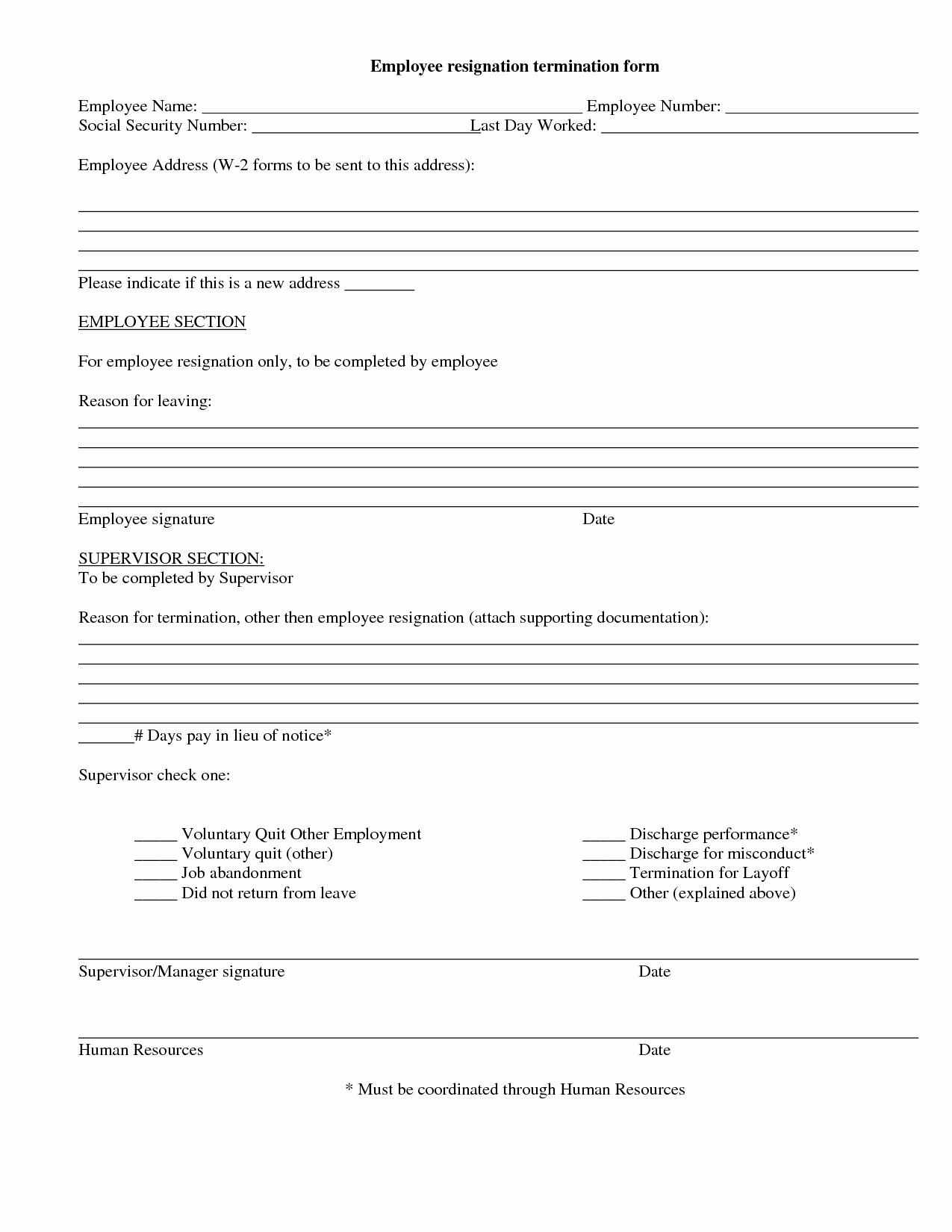 Employee Termination form Template Unique 9 Best Of Employee Termination Notice form Free