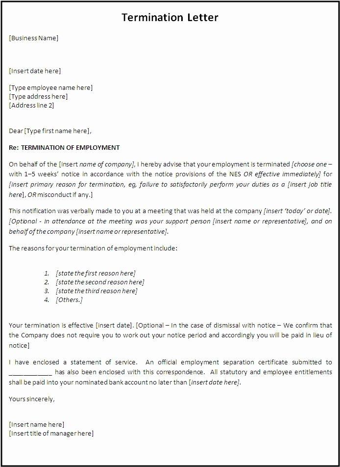 Employee Termination form Template Unique Termination Letter format