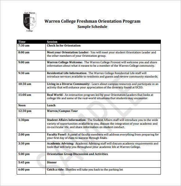 Employee Training Program Template Inspirational 10 orientation Schedule Templates & Samples Doc Pdf