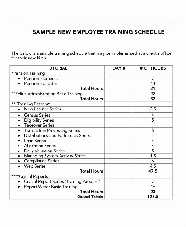 Employee Training Schedule Template Best Of Employee Training Schedule Template 14 Free Word Pdf