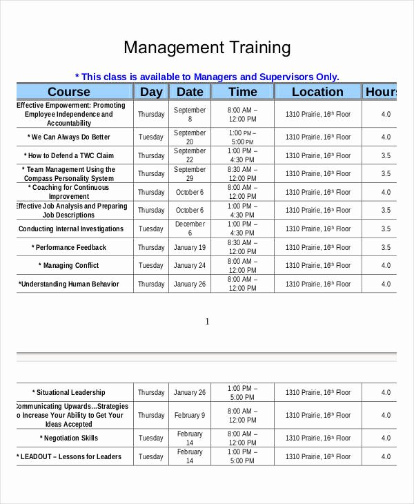 Employee Training Schedule Template Elegant Employee Training Schedule Template 14 Free Word Pdf