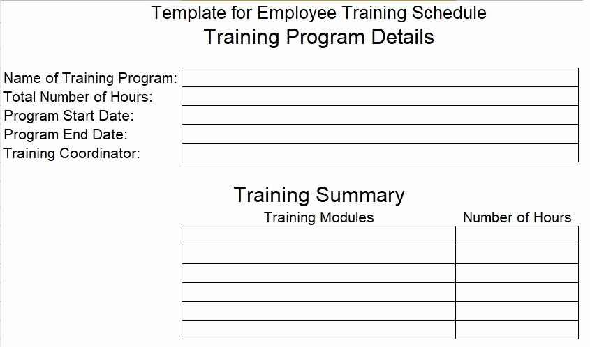 Employee Training Schedule Template Lovely Download Employee Training Schedule Template for Pany