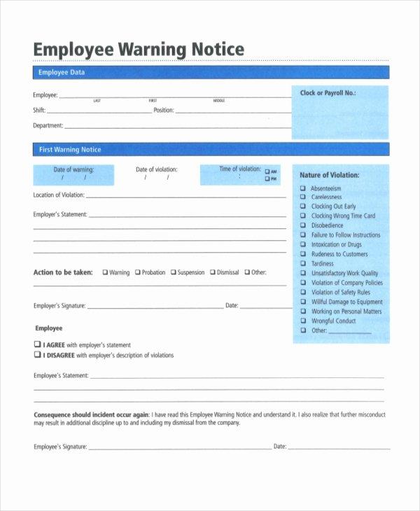 printable employee warning notice templates