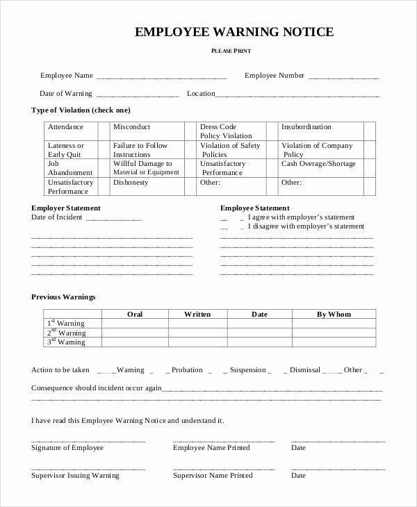 Employee Warning Notice Template Elegant 9 Employee Warning Notice Samples