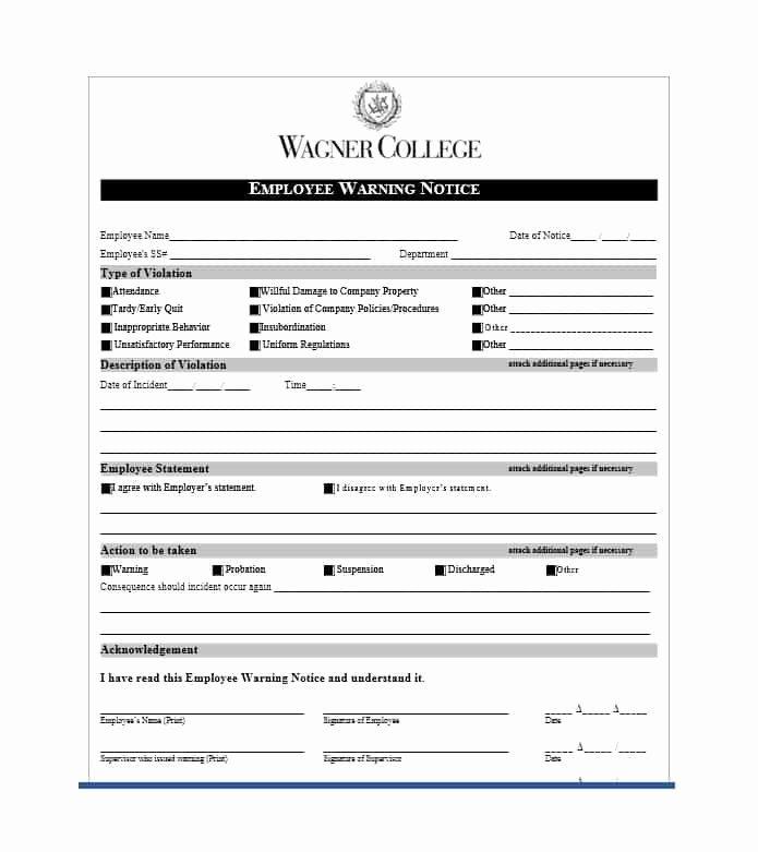 Employee Warning Notice Template Fresh Employee Warning Notice Download 56 Free Templates & forms