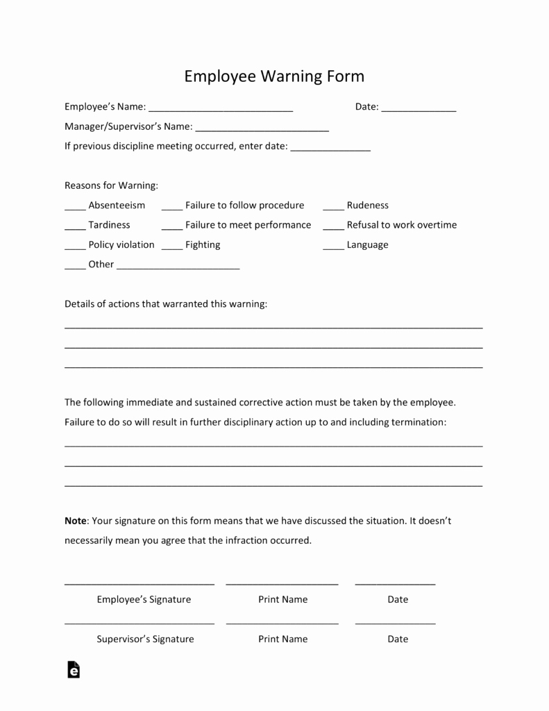 Employee Warning Notice Template Inspirational Free Employee Warning Notice Template Pdf