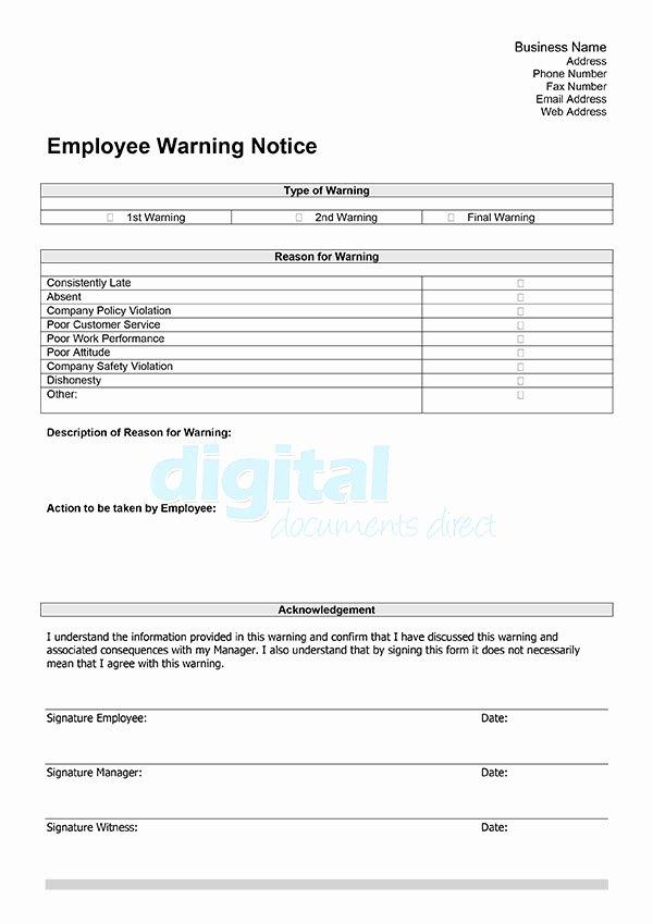 Employee Warning Notice Template Luxury Employee Warning Template