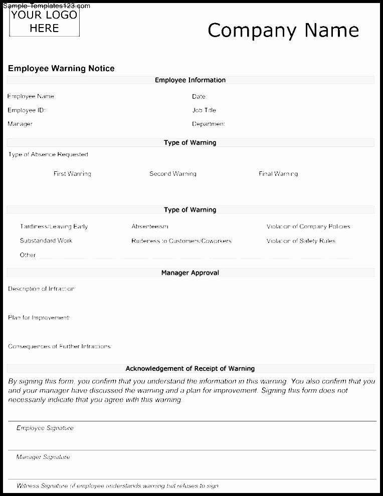 Employee Warning Notice Template Unique 28 Warning Employee Template Word tonibest