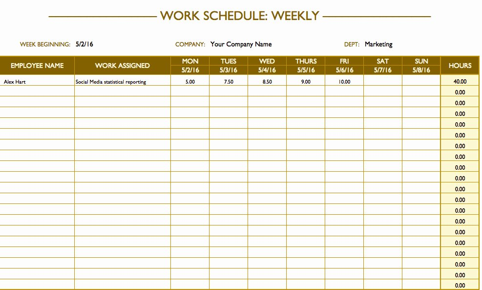 Employee Work Plan Template Best Of Free Work Schedule Templates for Word and Excel