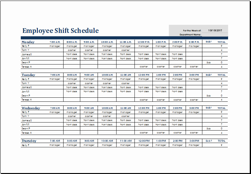 Employee Work Plan Template Elegant Excel Shift Schedule Template