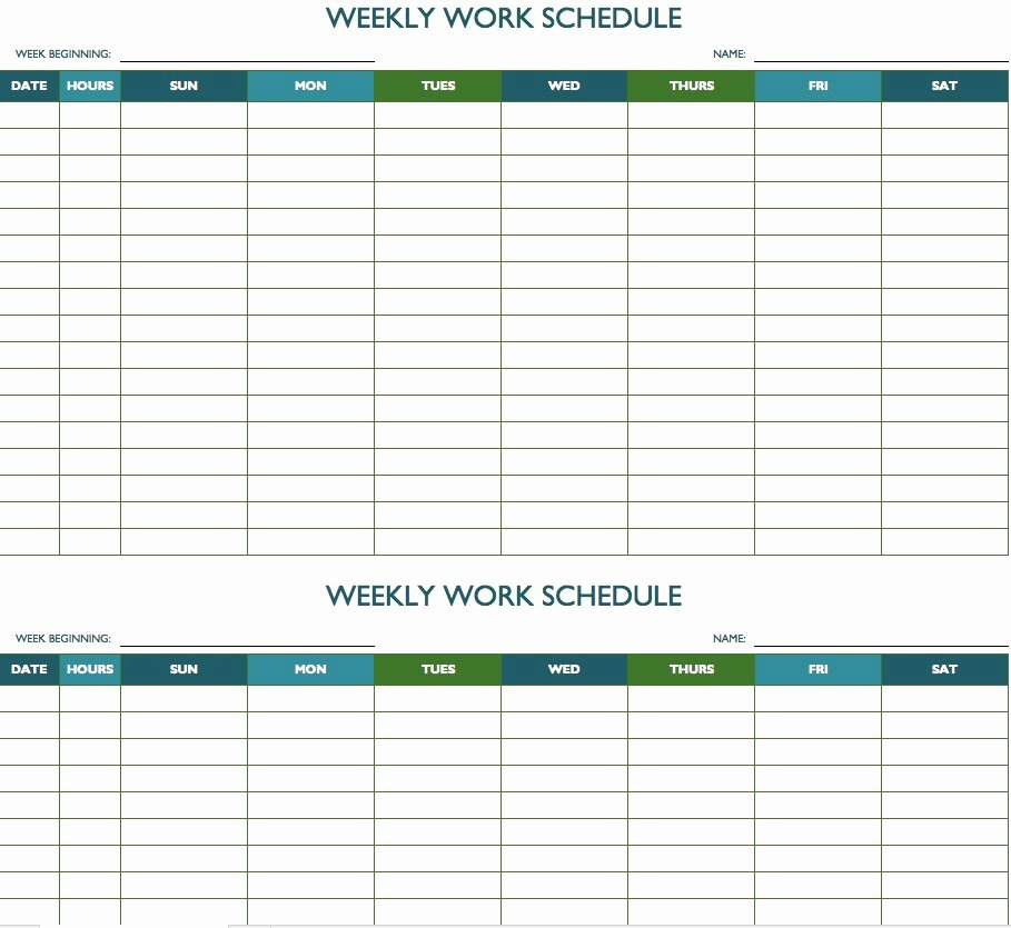 Employee Work Plan Template Elegant Free Weekly Schedule Templates for Excel Smartsheet