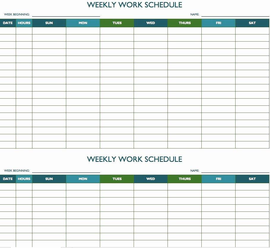 Employee Work Plan Template Elegant Free Weekly Schedule Templates for Excel Smartsheet