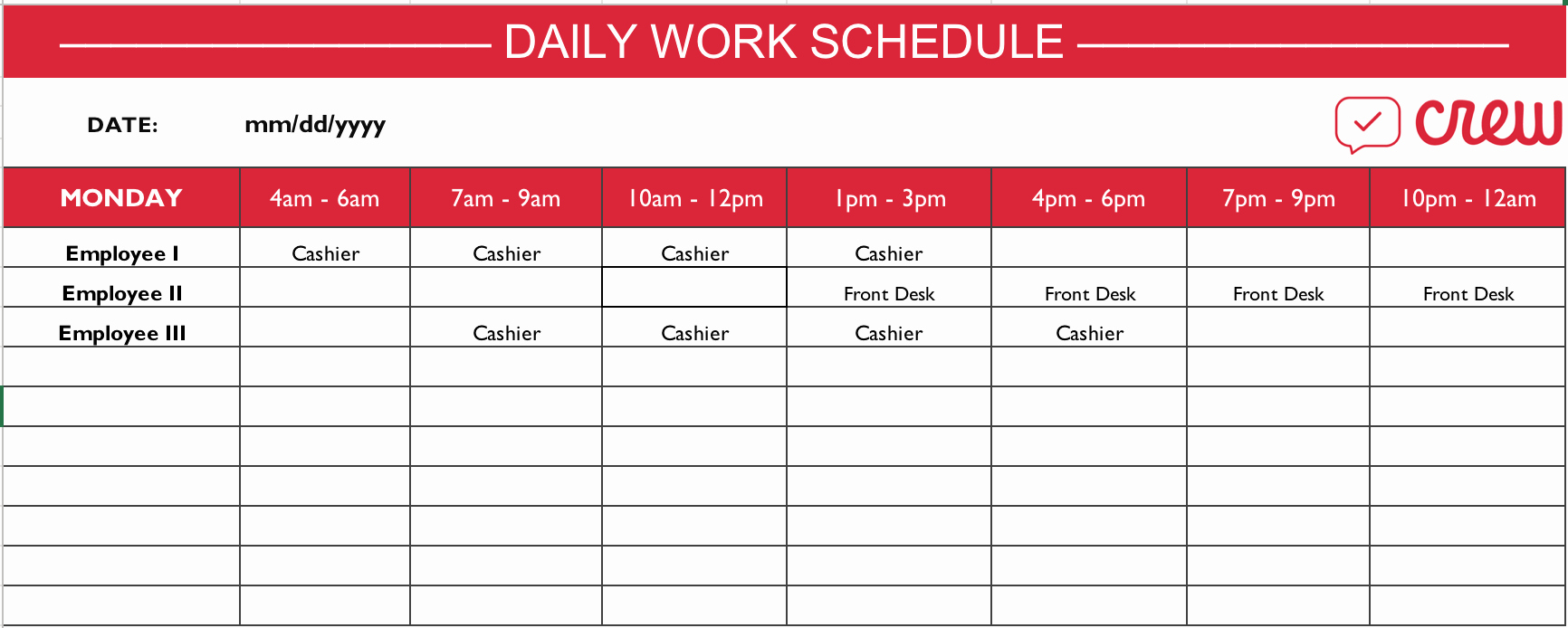 Employee Work Plan Template Fresh Free Daily Work Schedule Template Crew
