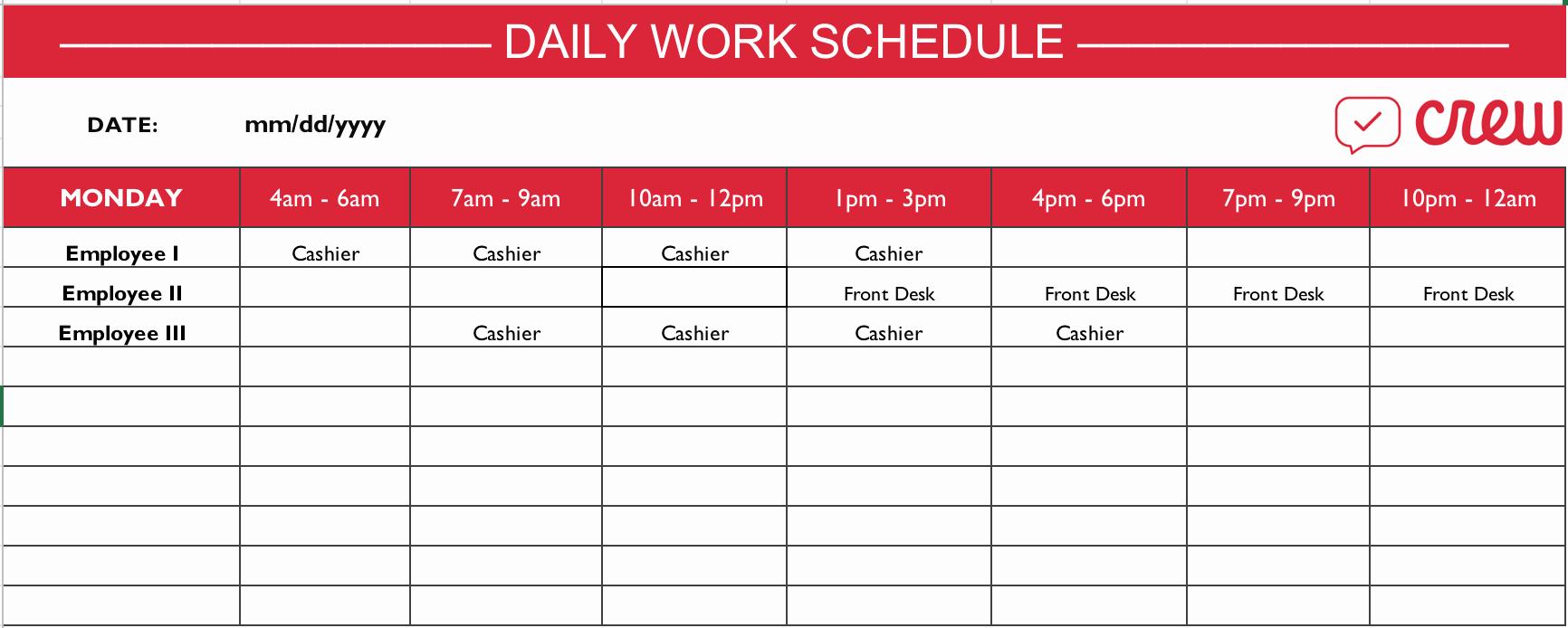 Employee Work Plan Template Fresh Free Daily Work Schedule Template Crew