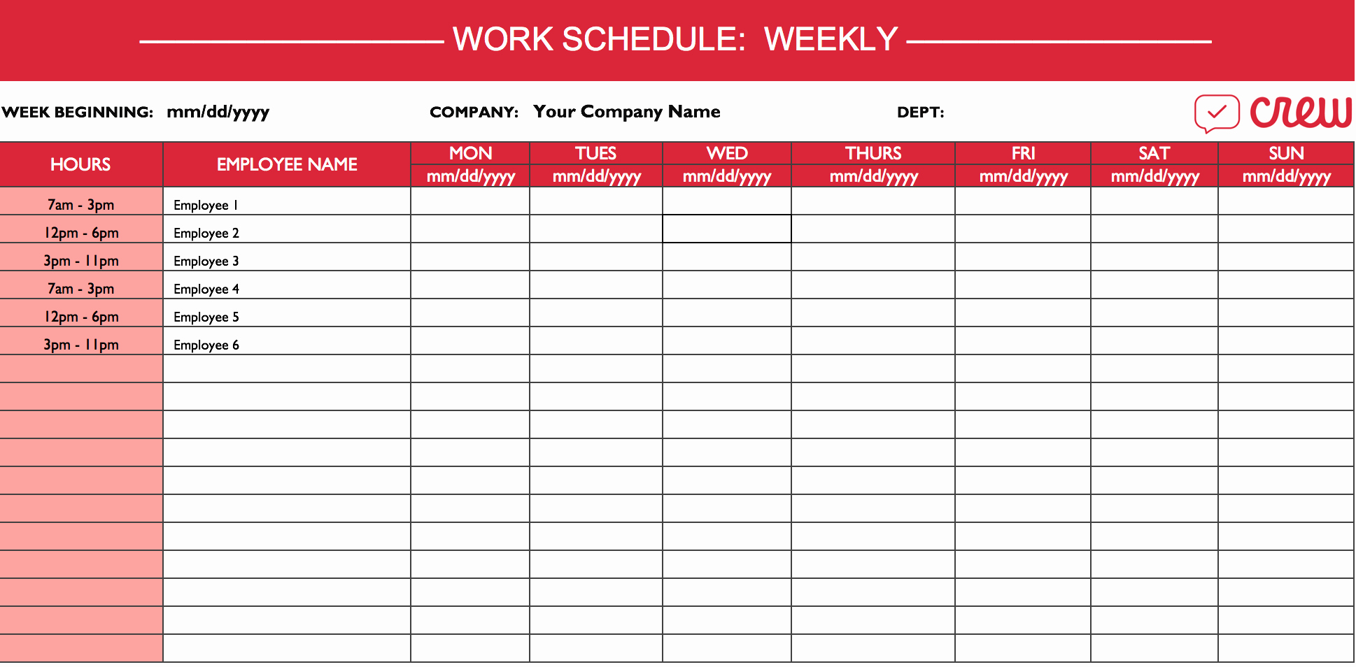 Employee Work Plan Template Fresh Weekly Work Schedule Template I Crew
