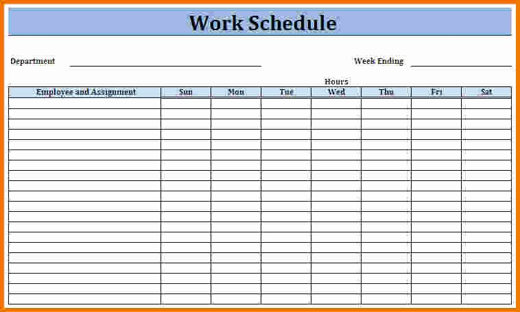 Employee Work Plan Template Fresh Work Schedule Template Weekly Schedule