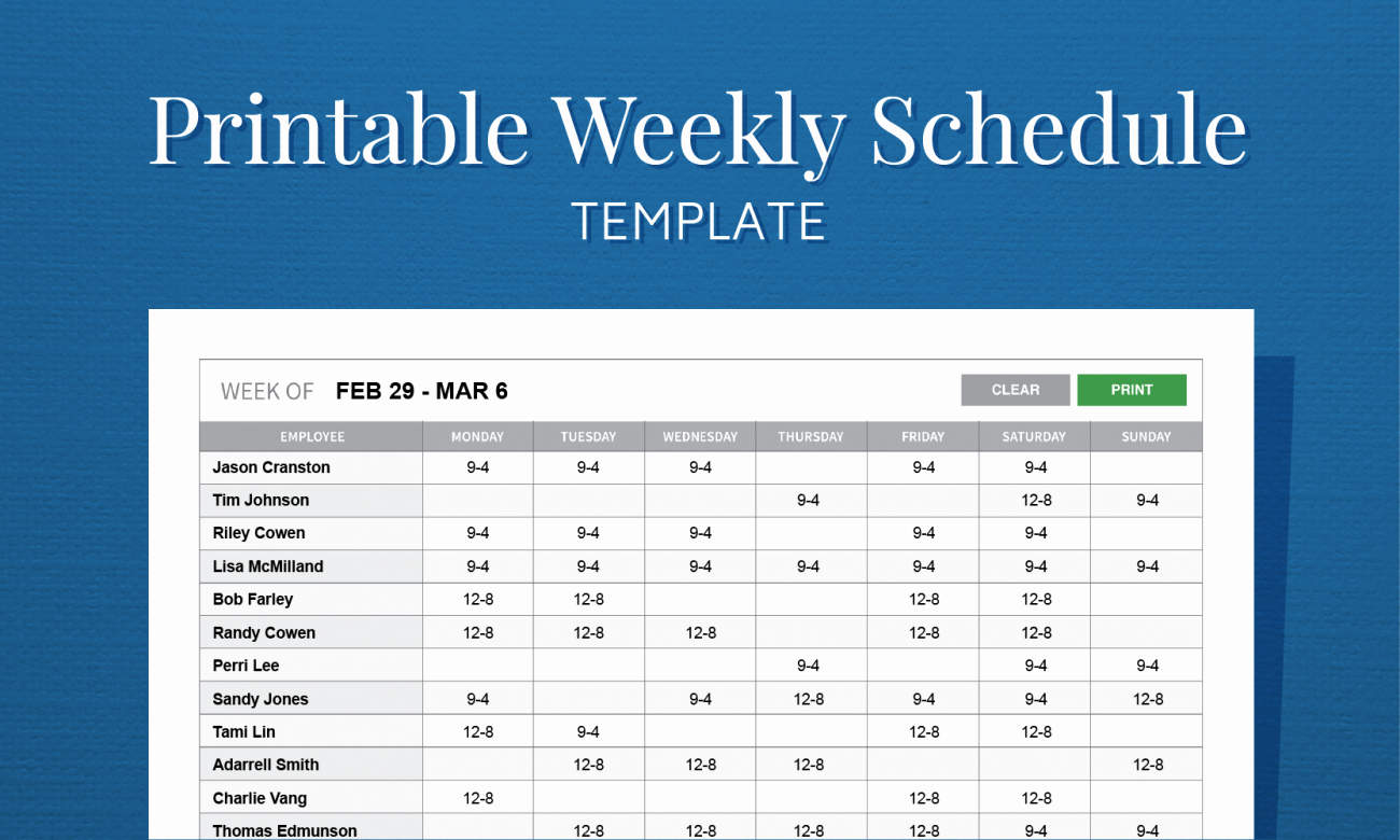 Employee Work Plan Template New Free Printable Weekly Work Schedule Template for Employee