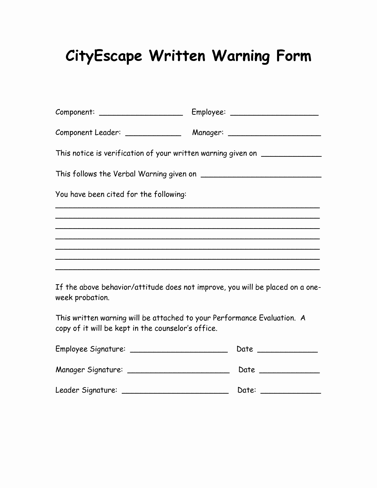 Employee Written Warning Template Best Of Written Warning Template