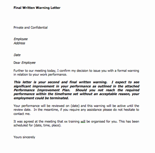 Employee Written Warning Template Inspirational Final Written Warning Letter Eq Consultants