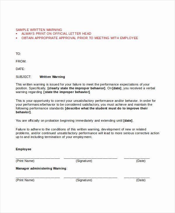 Employee Written Warning Template Luxury Warning Letter Template 9 Free Word Pdf Document