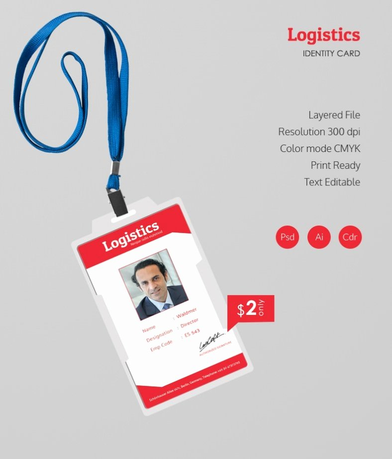 Employees Id Card Template Awesome Stunning Logistics Identity Card Template