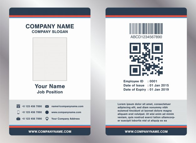 Employees Id Card Template Lovely Simple Landscape Employee Id Card Template Vector Vector