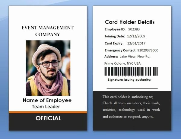 Employees Id Card Template Luxury 17 Best 100 Employee Card Template Images On Pinterest